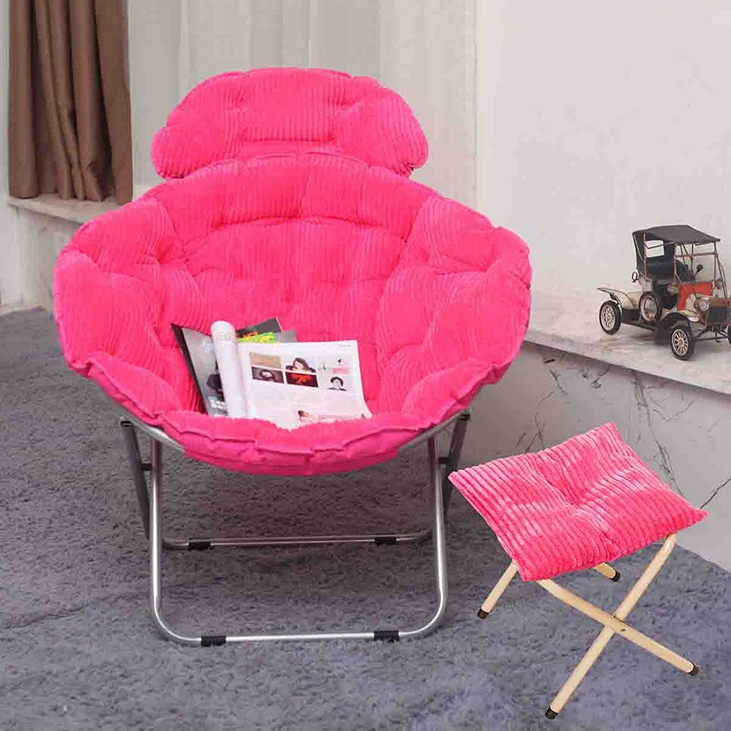 Folding Chair Large Adult Moon Chair Sun Chair Butterfly Chair Lazy Chair Radar Chair Recliner Folding Chair Round Chair Sofa Chair Folding Chairs Beach Chairs (color   pink red)