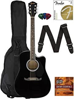 Fender FA-125CE Dreadnought Cutaway Acoustic-Electric Guitar – Black Bundle with..