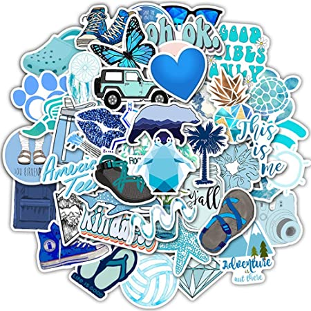 50Pcs Blue Skateboard Stickers Vinyl Laptop Luggage Decals VSCO Girls Stickers
