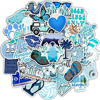Laptop Stickers Packs VSCO Blue Style Stickers 50PCS Water Bottles Stickers Cute,Waterproof,Aesthetic,Trendy Stickers for ...