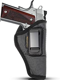 """IWB Gun Holster by Houston - ECO Leather Concealment Inside The Waistband with Metal Clip FITS 1911 5"""" & 4"""" Barrel, Browning 9 mm"""