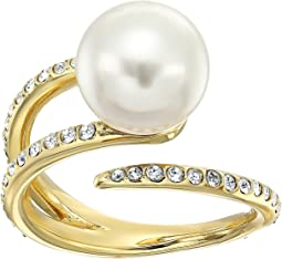 Pearl Tone Pave Crystal and White Pearl Open Ring