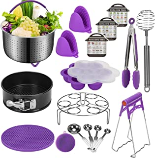 Instant Pot Accessories Set Compatible with 6,8 Qt - Stainless Steel Steamer Basket, Springform Pan, Egg Steamer Rack, Silicon Egg Bites Mold, Magnetic Cheat Sheets and More (Purple)