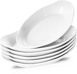 NJCharms Ceramic Au Gratin Baking Dishes, Gratin Dishes Oval Baking Pans White Porcelain Kitchen Bakeware/Baker, 9-Inch, S...