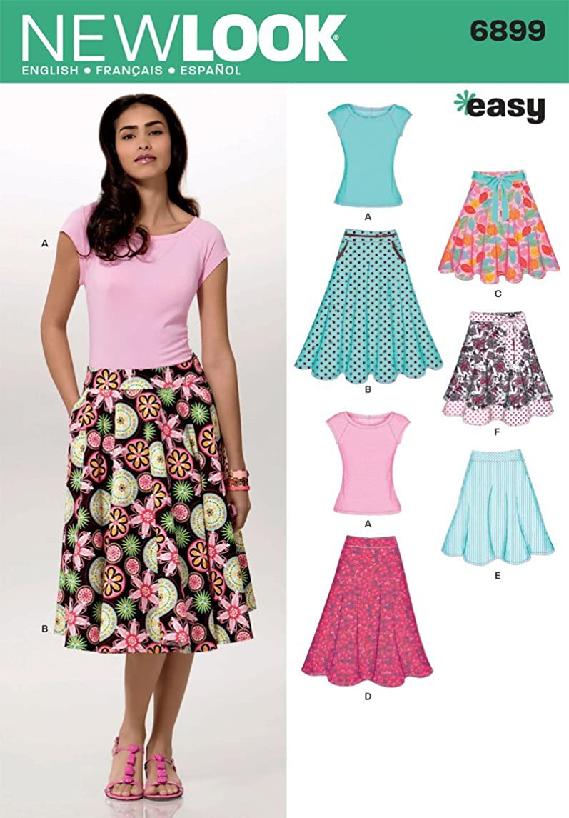 New Look Sewing Pattern 6899 Misses Skirts with Knit Top, Size A (10-12-14-16-18-20-22)