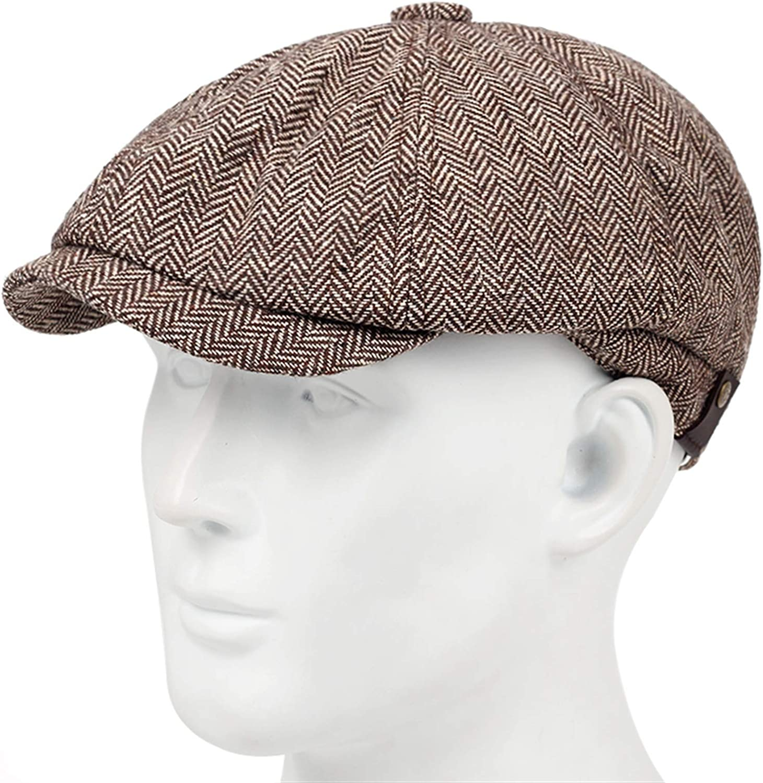 HONGJIU Men's Classic Herringbone Tweed Blend Newsboy Hat Beret with A Little Elastic Hats (Color : Brown)