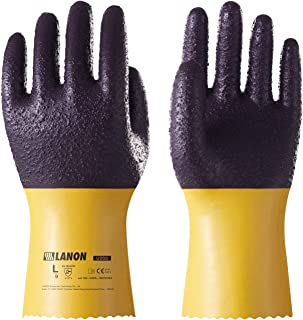 LANON Protection U200 Heavy Duty PVC Safety Gloves, Reusable Oil Resistant Work Gloves, Ultra Grip, Anti Abrasion, Extra Large, CE Listed, CAT II