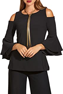 Beyond Travel Plus Size Cold-Shoulder Two-Layer Sleeve Top