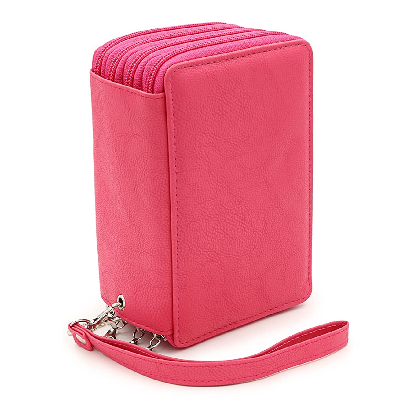 BTSKY PU Leather Colored Pencil Case with Compartments-72 Slots Handy Pencil Bags Large for Watercolor Pencils, Gel Pens and Ordinary Pencils (Pink)