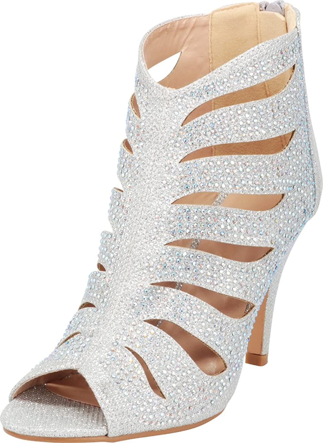 Cambridge Select Women's Open Toe Cutout Caged Glitter Crystal Rhinestone Stiletto High Heel Ankle Bootie