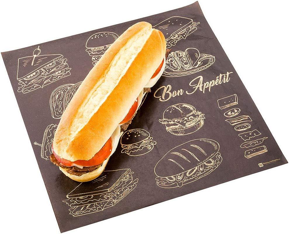 Greaseproof Paper Food Wrap Basket Liner Sandwich Wrap Bakery Wrap Bon Appetit 12 X 12 500ct Box Restaurantware