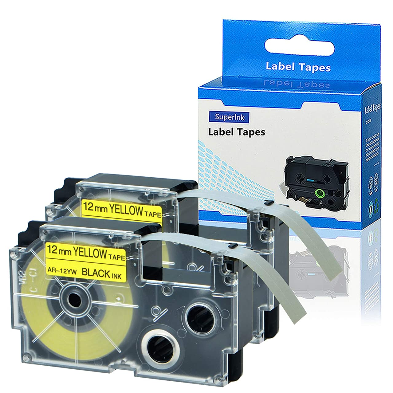 SuperInk 2 Pack Compatible XR-12YW XR-12YW2S Black on Yellow Label Tape use for KL60 KL100 KL120 KL750 KL780 KL820 KL7000 KL-7200 KL-8100 KL-8200 KL-P1000 KL-G2 EZ-Label Printer 1/2