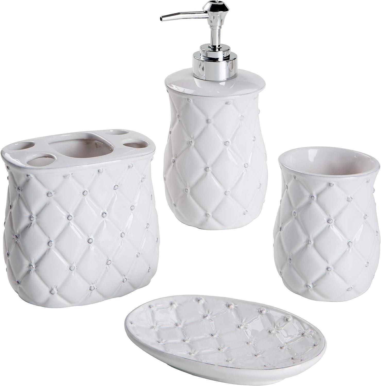 Montemaggi vaso y jabonera Juego de 3 piezas de cer/ámica de ba/ño redondeado de color blanco Incluye dispensador