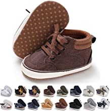 Baby Girls Boys Shoes Soft Sole Toddler First Walker Infant High-Top Ankle Sneakers Newborn Crib Shoes for 3-18 Months
