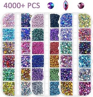 Nail Art Rhinestones Kit 4000Pcs, Flat Back Sharp/Half Round/Horse Eye Rhinestone Multicolor Crystal Gem for Nail Decoration Craft DIY Facial Make Up (Free Pickup Tweezer)