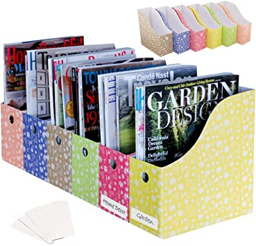 Amazon Com Evelots Magazine File Holder Organizer Full 4 Inch Wide Floral With Labels Set 6 Home Kitchen