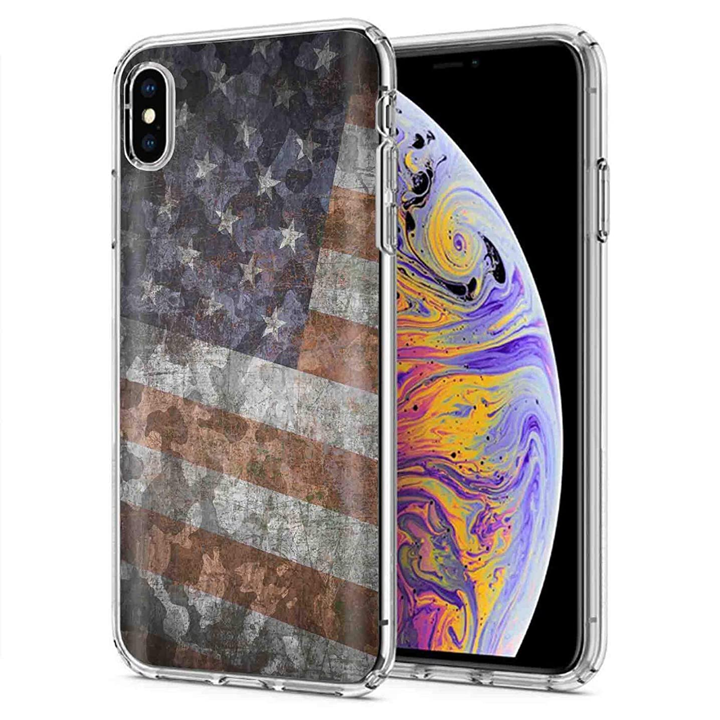 Apple iPhone Xs Max Deluxe Phone Cover Designed in USA [TalkingCase], Clear Premium Thin Gel Phone Cover Ultra Flexible Slim TPU for Apple iPhone Max,iPhone 10 Max [American Flag Camouflage] Design