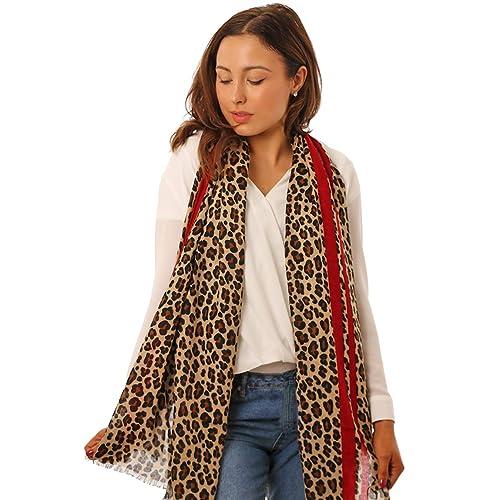 STYLE SLICE Leopard Print Striped Scarfs Women - Cream Maroon Red Pink Black  Mustard Blue - 1376dbc3d