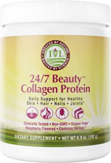 IVL 24/7 Beauty Collagen Protein Powder with Verisol Bioactive Collagen Peptides - Support Hair, Skin, Nails, and Joints - Type I and III, Raspberry Flavor, 6.9oz