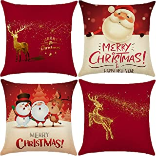 SUNUZI Christmas Pillow Covers 18 x 18 Set of 4 Cushion Covers,Christmas Pillow Decorative Throw Pillows for Sofa, Bench, Bed, Auto Seat.(Santa Claus,Reindeer)