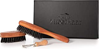 Zilberhaar Basic Beard Brush Kit (Soft Version) 2nd Cut Boar Bristles - Ideal for Stubbles and Short To Medium Beards - Distributes Balm and Oil for Growth and Styling - Comes with Brush Cleaning Tool