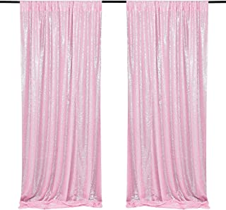 Pink Sequin Wedding Backdrop 2 Pieces 2ftx8ft Photography Background Party Curtain Glitter Backdrop Fabric