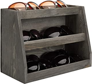 MyGift 3-Tier Vintage Gray Solid Wood Sunglasses Storage Organizer Retail Display Rack, Holds 10 Pairs of Eyewear