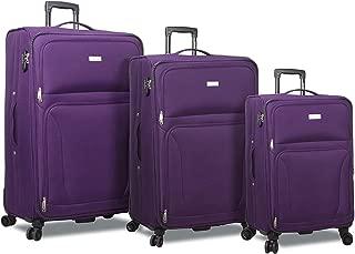 Trek 3-Piece Expandable Spinner Combination Lock Luggage Set-Purple