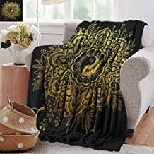 PearlRolan Custom Sofa Bed Throw Blanket,Gold Mandala,Indian Garden Flower in Crown of Leaves Yin and Yang Symbol Twigs Blooms,Dark Blue Gold,300GSM,Super Soft and Warm,Durable Blanket 30
