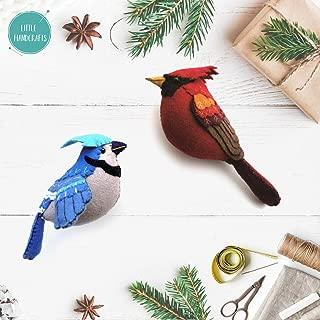 Little Handcrafts Set of 2 Handmade Bird Ornaments in Felt Applique | Plush Tree Decorations | Cardinal and Blue Jay Holidays
