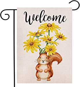 Watercolor Squirrel Welcome Garden Flag Vertical Double Sided, Daisy Flowers Flag Yard Outdoor Decoration 12.5 x 18 Inch