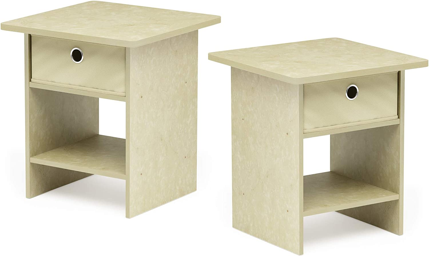 FURINNO 2-10004CRM Bin Drawer Storage 2-Pack End Table Nightstand, Cream Faux Marble Ivory