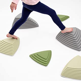 JumpOff Jo Rocksteady Balance Stepping Stones for Kids, Camo Colors, Set of 6 Blocks in 3 Sizes