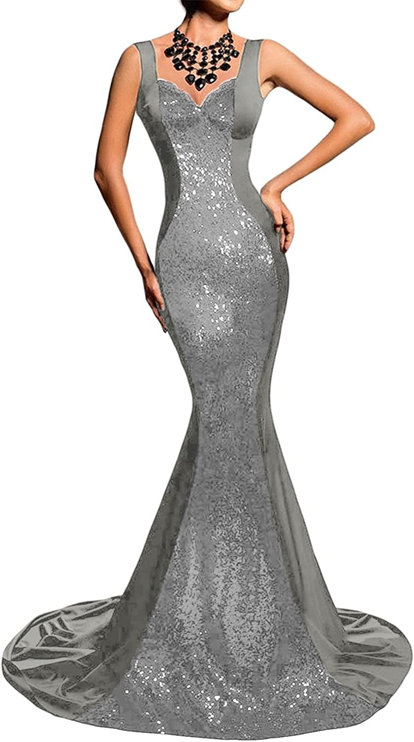 JudyBridal Women Long Sexy Straps Mermaid Sequins Prom Dresses with Train