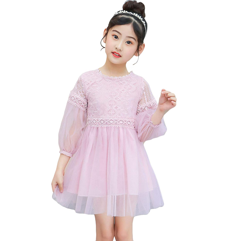 女の子ワンピース チュニック バルーン 袖 シースルー ふんわり フレア シフォ 入園式 ドレス 子供ドレス 子ども服