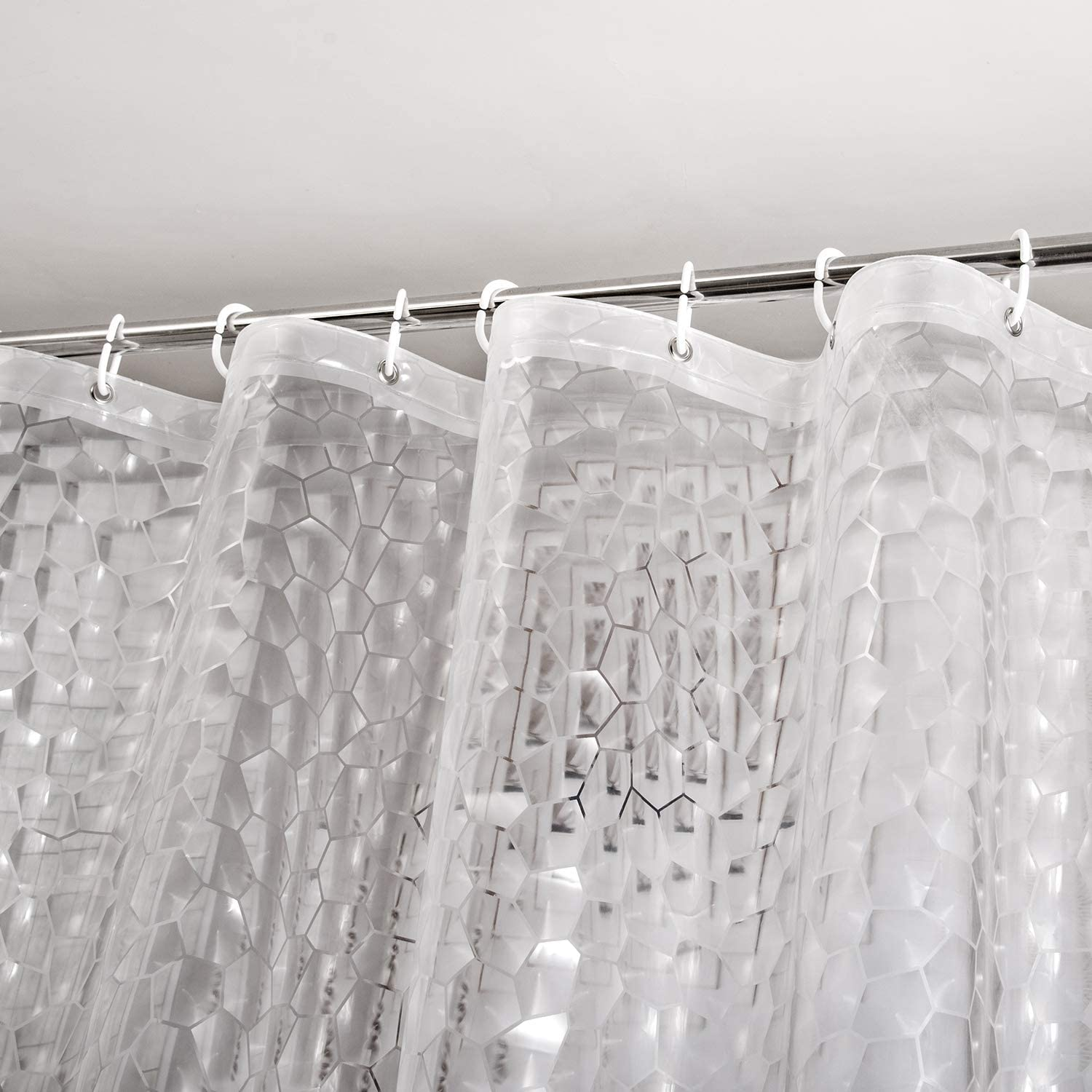 WELTRXE Heavy Duty EVA Shower Curtain Liner with Magnets Waterproof 3D Water Cube Clear Bathroom Shower Curtains, No Chemical Smell, No Odors, 72 x 72 in, 12 Hooks