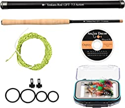 AnglerDream 12/13FT Tenkara Rod Kit 30T Carbon Fiber Telescopic Fly Fishing Rod Combo with Furled Line Flies