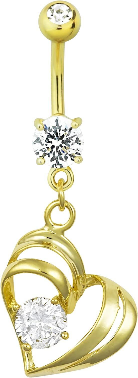 Forbidden Body Jewelry 14kt Gold Plated Surgical Steel CZ Simulated Diamond Double Heart Dangle Belly Button Ring