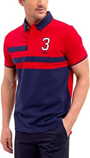 Mens Color Block Stripe Pique Polo Shirt with 3 Patch
