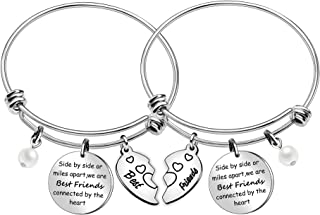 JQFEN Side by Side or Miles Apart Best Friends Bracelets 2 Pcs Set Friendship Bracelets for Sister Women