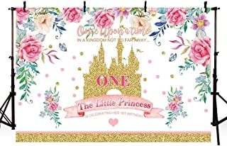 MEHOFOTO Kingdom Little Princess 1st Birthday Photo Background Banner Spring Floral Gold Sequin Castle Girl One Fairy Tale Theme Birthday Party Decorations Backdrops for Photography 7x5ft