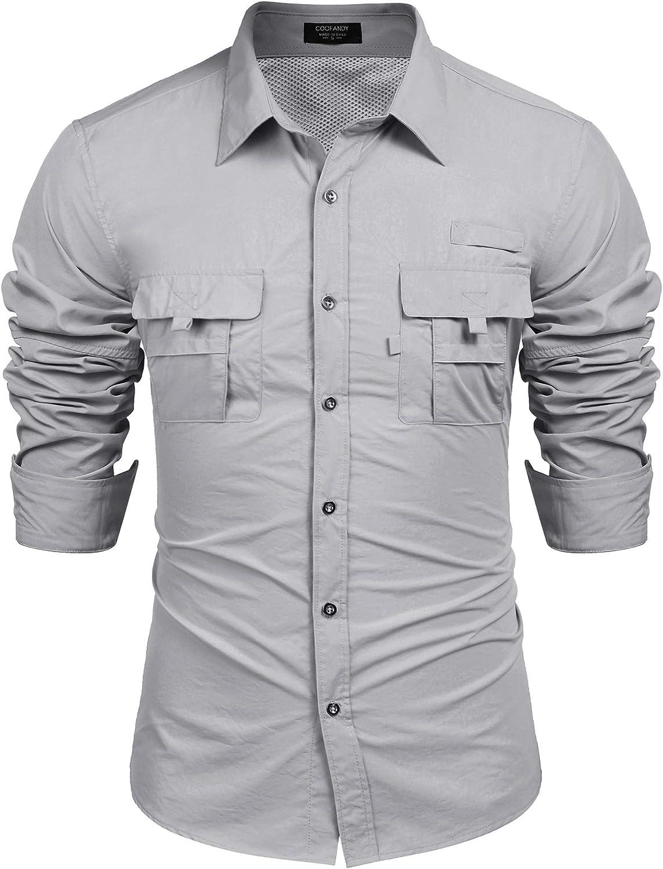 COOFANDY Men's Mail order cheap Casual Long Down Button National uniform free shipping Sleeve Shirts