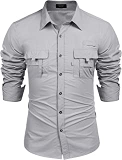 Men's Casual Long Sleeve Fishing Shirt Outdoor Quick-Dry Breathable Shirts