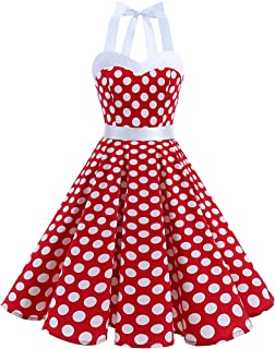 DRESSTELLS 50s Retro Halter Rockabilly Bridesmaid Audrey Dress Cocktail Dress