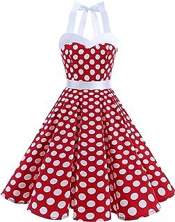 DRESSTELLS Vintage 1950s Rockabilly Polka Dots Audrey Dress Retro Cocktail Dress