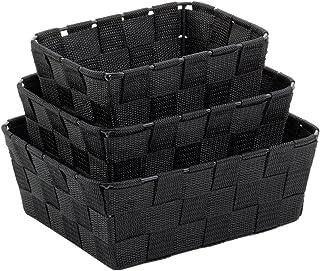 Kela Lot de 3 Corbeilles de rangement, Alvaro, Rubans de fibres plastiques, Tailles variées, 323029, Noir