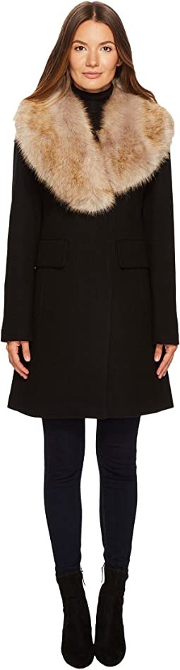 Kate Spade New York - Wool Twill Faux Fox Collar Peacoat