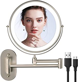 Rechargeable Wall Mounted Makeup Mirror with 3 Color Lights and 1x/5x Magnification, 8 inch Lighted Up Mirror with Double ...