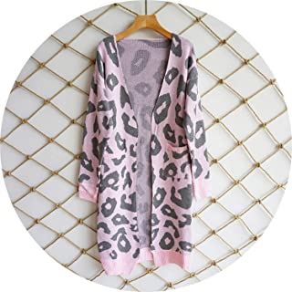 Autumn Winter Leopard Print Knitted Long Cardigan Women 2019 Casual Style Pocket Open Stitch Sweater Tops