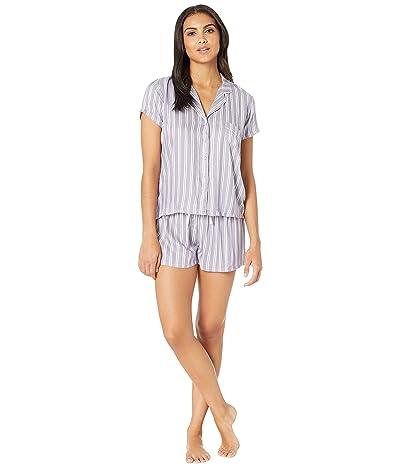 Splendid Woven Shortie PJ Set (Purple/White Twin Stripe) Women